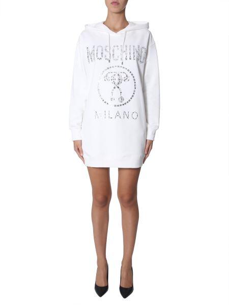 Moschino - Plush Cotton Dress With Hood And Crystal Logo