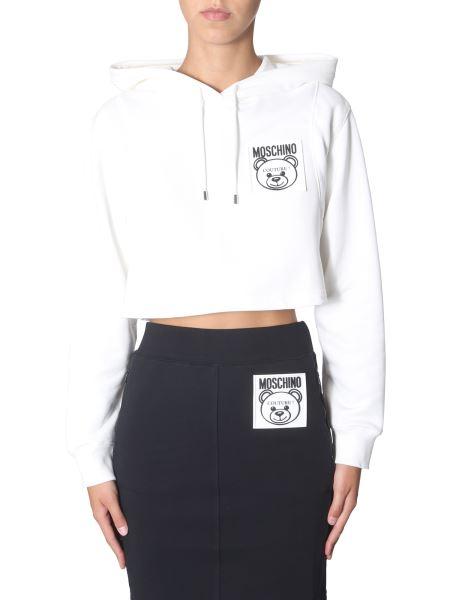 "Moschino - ""teddy Label"" Cotton Hooded Cropped Sweatshirt"