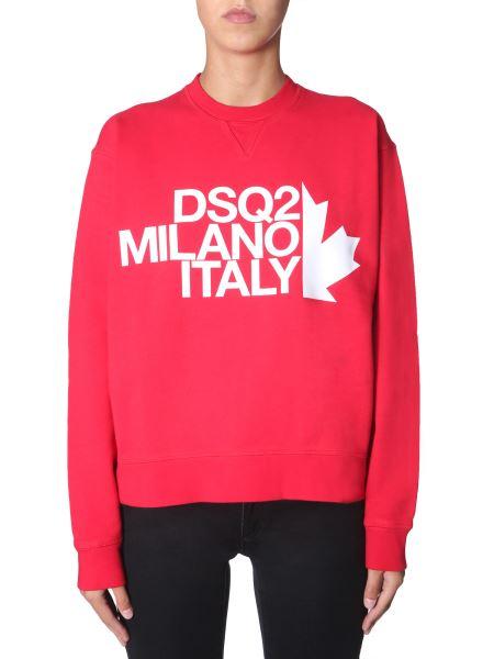 Dsquared - Round Neck Cotton Sweatshirt With Logo Print