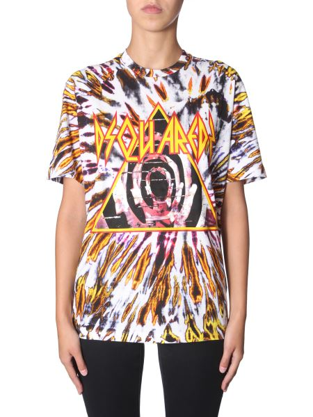Dsquared - T-shirt In Cotone Con Stampa Tie And Dye