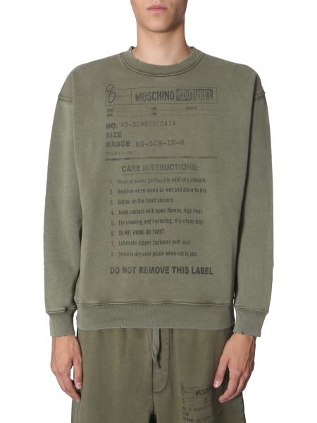 "Moschino - ""army Label"" Plush Cotton Sweatshirt"