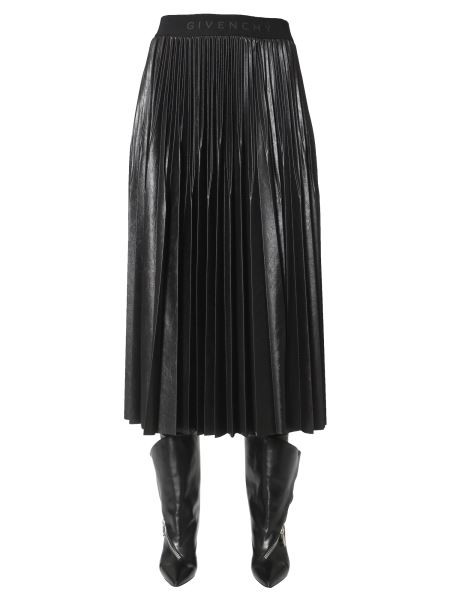 Givenchy - Plissé Lacquered Jersey Skirt