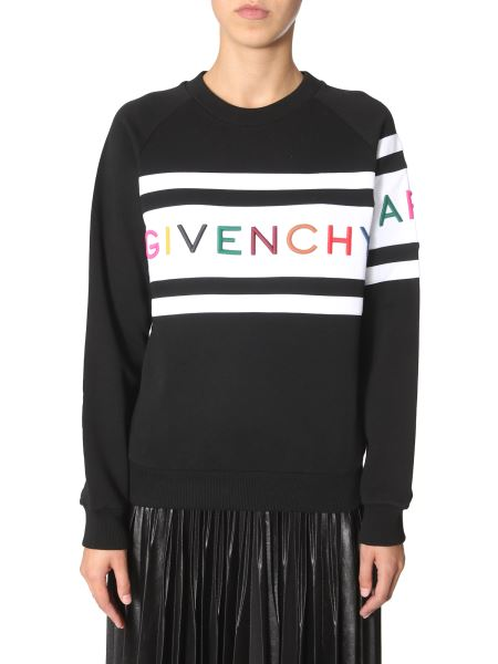 Givenchy - Cotton Round Neck Sweatshirt With Embroidered Logo
