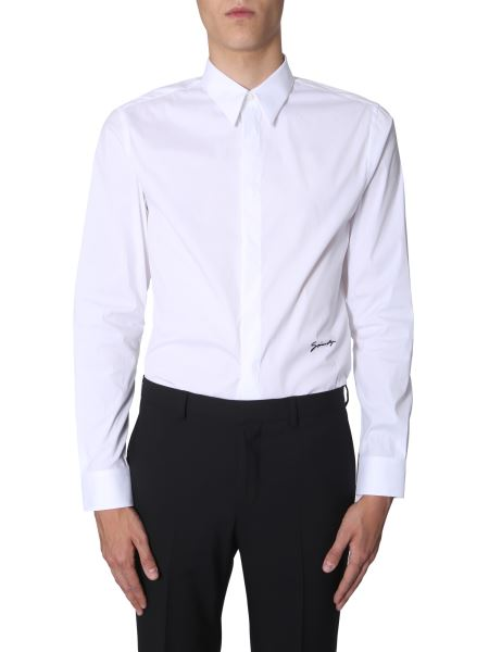 Givenchy - Slim Fit Cotton Poplin Shirt With Embroidered Logo