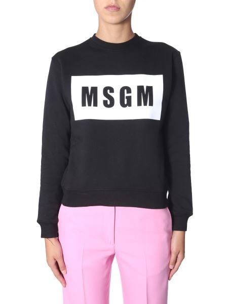 Msgm - Round Neck Cotton Sweatshirt With Box Logo