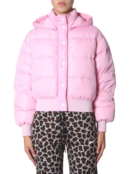 Msgm - Short Down Jacket With Logoed Hood