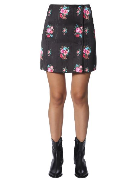 Msgm - Moire 'print Flowers Effect Skirt