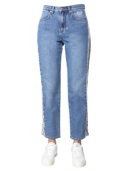 Msgm - Denim Cotton Jeans With Python Side Band