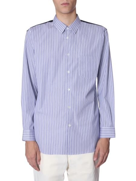 Comme Des Garcons Shirt - Striped Shirt With Flanell Back