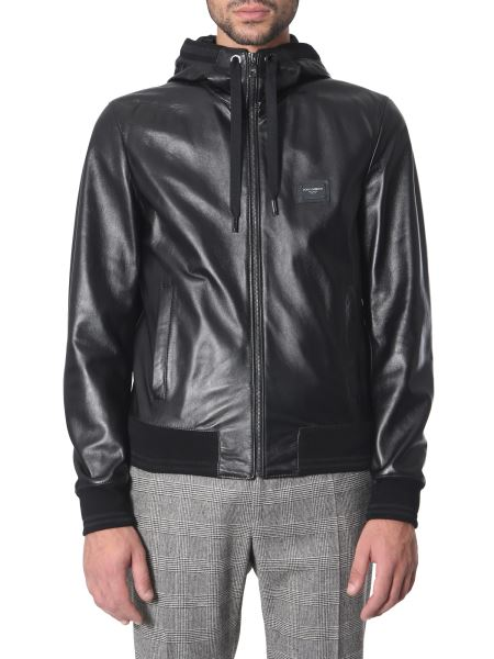 Dolce & Gabbana - Leather Hooded Jacket With Logoed Plate