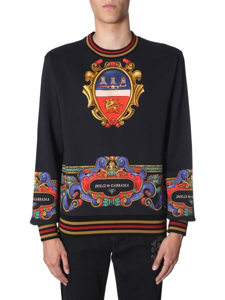 Dolce & Gabbana - Cotton Sweatshirt With Heraldic Print