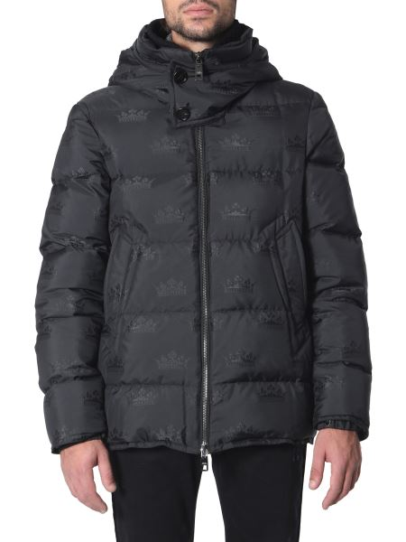 Dolce & Gabbana - Regular Fit Hooded Down Jacket With Print
