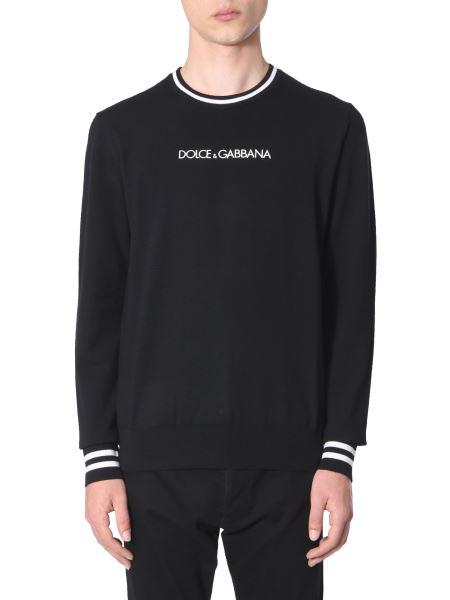 Dolce & Gabbana - Maglia Girocollo In Lana Con Logo