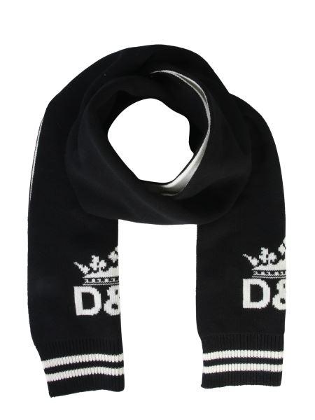 Dolce & Gabbana - Sciarpa In Cashmere Con Intarsio Logo Con Corona