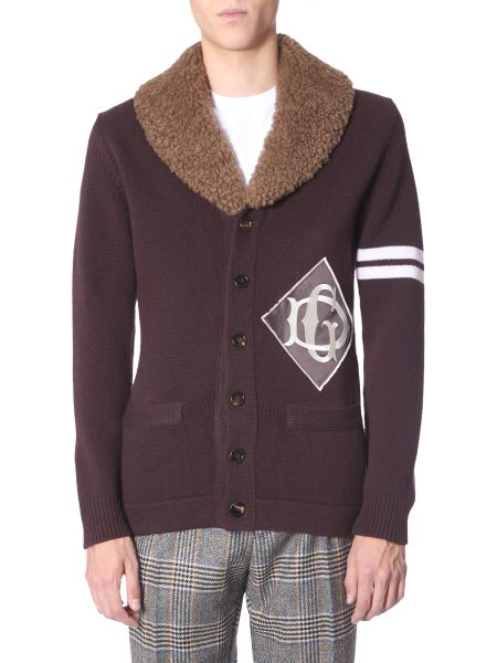Dolce & Gabbana - Fur And Logo Embroidered Wool Cardigan