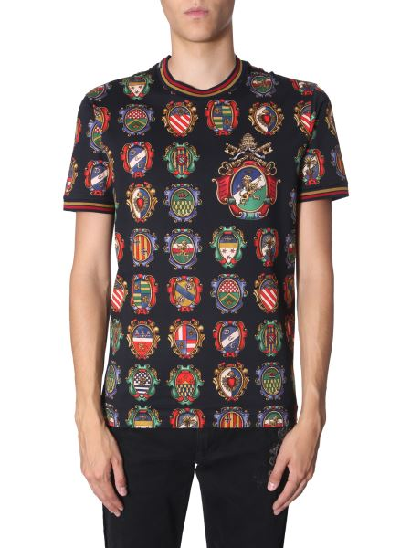 Dolce & Gabbana - Round Neck Cotton T-shirt With Star King Print