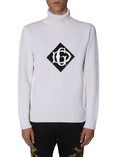 Dolce & Gabbana - High Neck Wool Sweater With Logo Patch