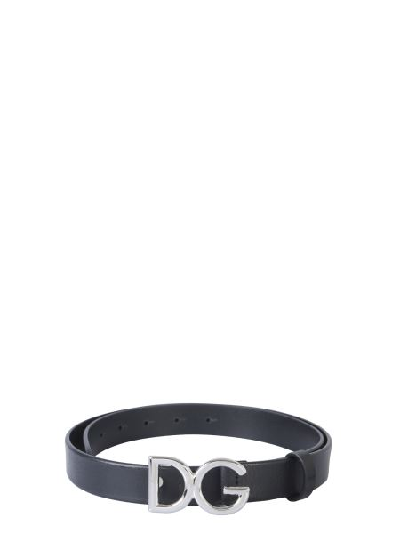 "Dolce & Gabbana - Leather Belt With ""dg"" Logo Buckle"