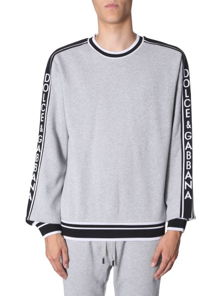 Dolce & Gabbana - Round Neck Cotton Sweatshirt With Logo Band