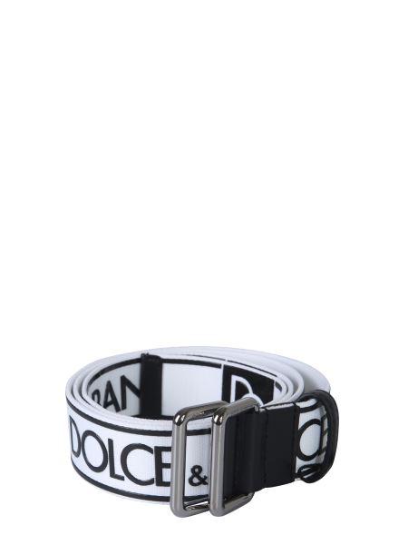 Dolce & Gabbana - Cintura In Nastro Logato Con Inserti In Pelle