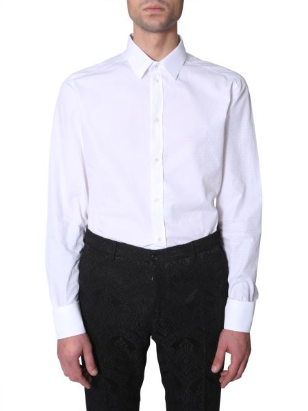 Dolce & Gabbana - Slim Fit Cotton Poplin Shirt With Micro Logo