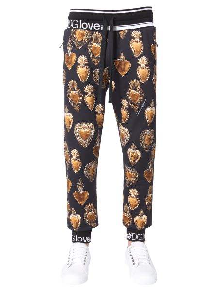 Dolce & Gabbana - Cotton Jogging Pants With Sacred Heart Print