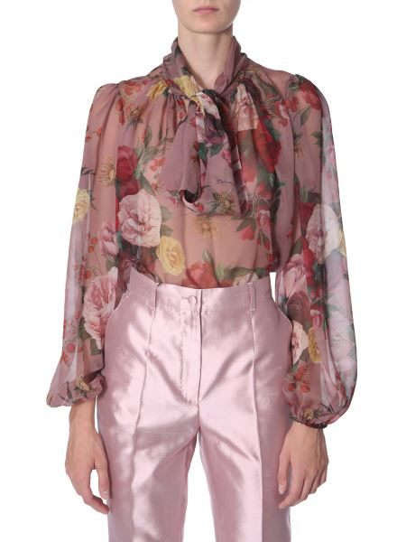Dolce & Gabbana - Floral Print Silk Shirt With Bow