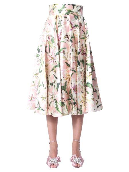 Dolce & Gabbana - Shantung Midi Skirt In Lily Print