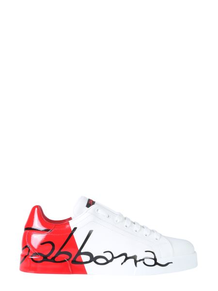 Dolce & Gabbana - Sneakers Portofino In Pelle Con Tallone Vernice