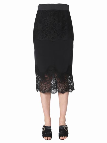 Dolce & Gabbana - Lingerie Chinese Crepe With Lace Long Skirt