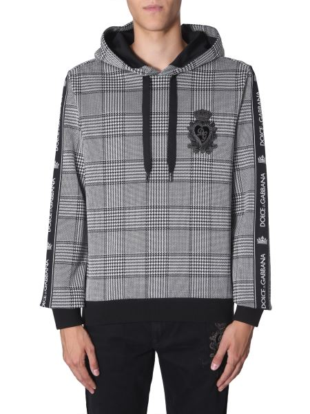 Dolce & Gabbana - Prince Of Wales Hooded Sweatshirt With Logo
