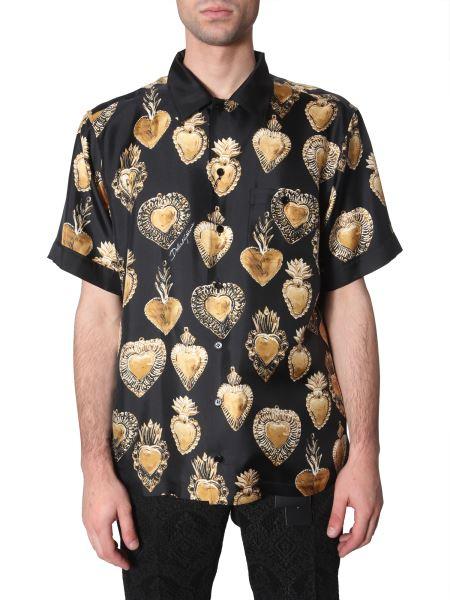 Dolce & Gabbana - Sacred Heart Print Short Sleeve Silk Shirt