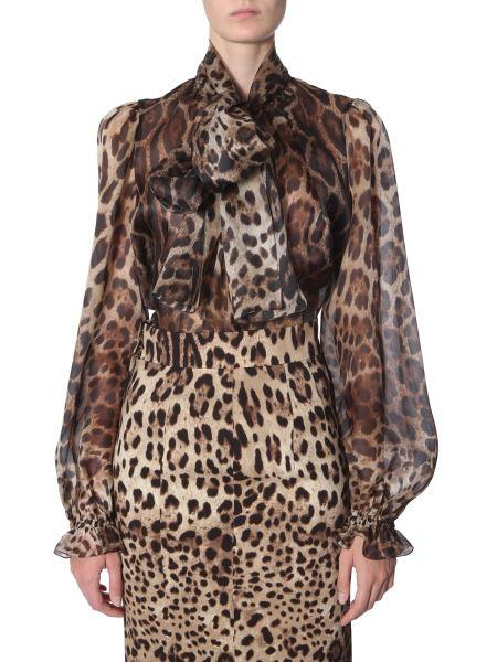 Dolce & Gabbana - Leo Print Silk Shirt With Bow