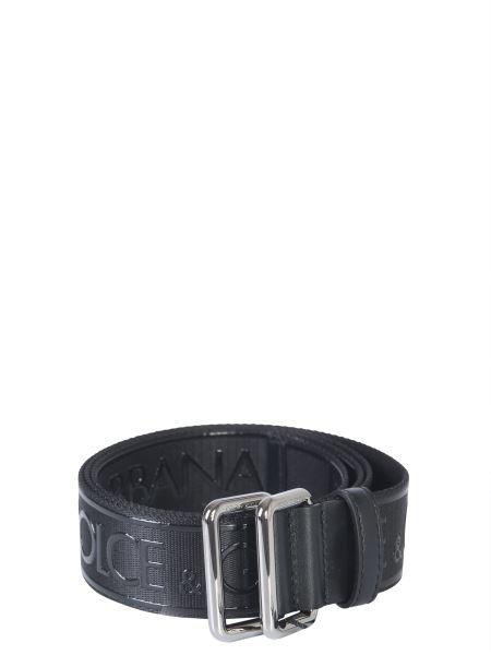 Dolce & Gabbana - Cintura In Nastro Con Logo A Rilievo