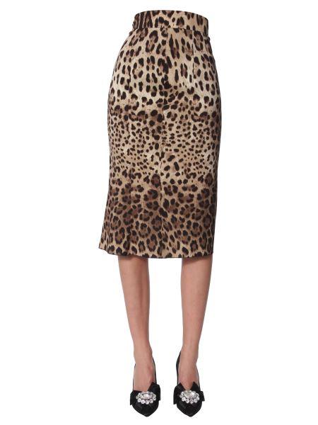 Dolce & Gabbana - Leo Print Mixed Silk Printed Skirt