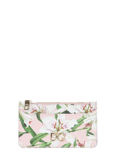 Dolce & Gabbana - Lily Print Dauphine Leather Card Holder