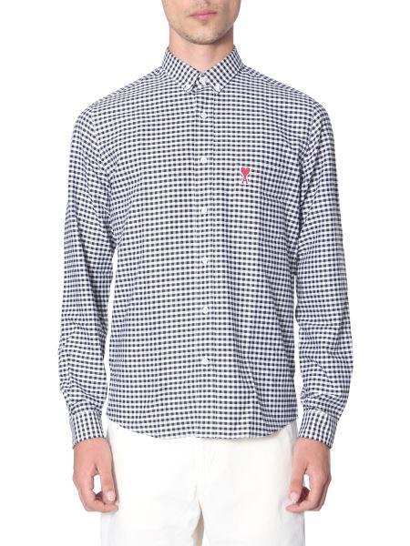 Ami - Button Down Cotton Shirt With Ami De Coeur Logo