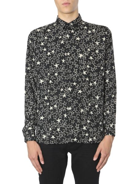 Saint Laurent - Yves Neck And Star Print Silk Shirt