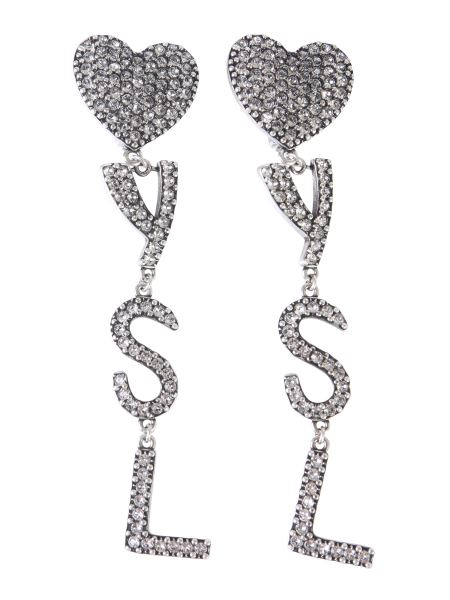 Saint Laurent - Pendant Earrings With Hearts And Crystal Logo