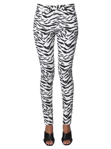 Saint Laurent - Skinny Fit Cotton Denim Jeans With Zebra Print