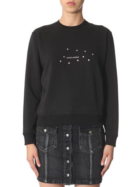 Saint Laurent - Round Neck Cotton Sweatshirt With Logo And Stars Print