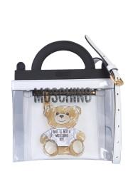MOSCHINO - BORSA TRASPARENTE CON BRUSHSTROKE TEDDY BEAR