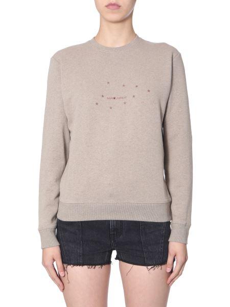 Saint Laurent - Stars Print Round Neck Cotton Sweatshirt With Logo