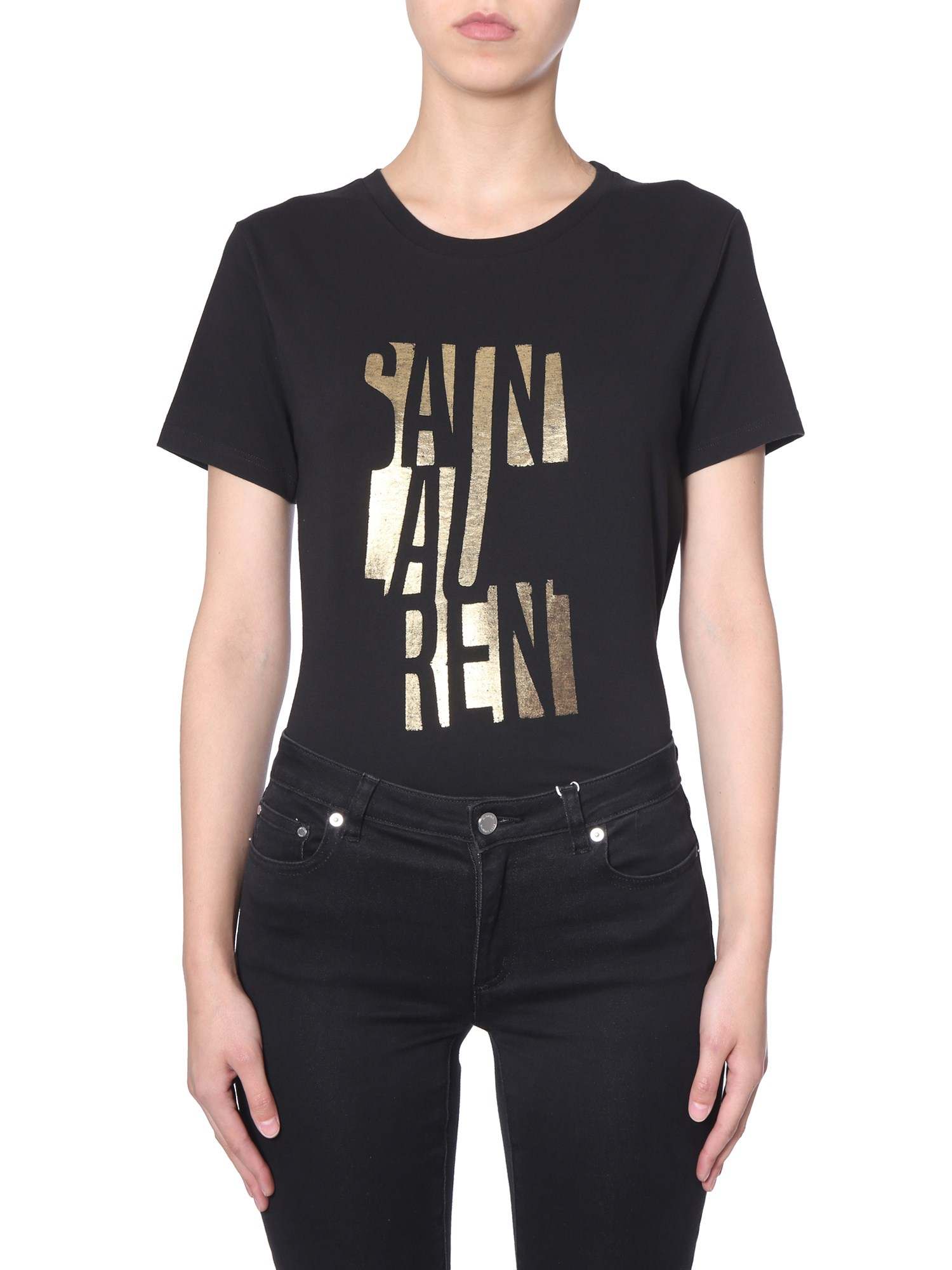 bec3ed24 Saint Laurent Poster Print Logo T-Shirt In Black | ModeSens