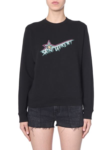 Saint Laurent - Logo Printed Round Neck Cotton Sweatshirt With 100% Cotton