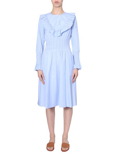 Tory Burch - Abito Smocked In Cotone