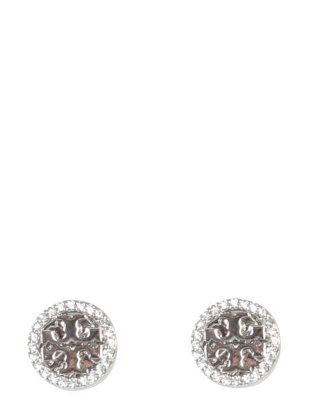 Tory Burch - Circle-stud Crystal Logo Brass Earrings