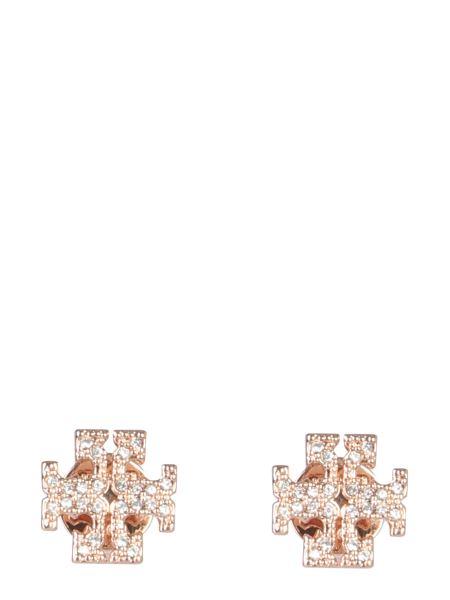 Tory Burch - Crystal Logo Brass Earrings
