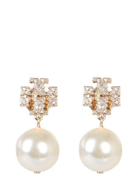Tory Burch - Brass Earrings With Crystal Logo And Pendant Pearl