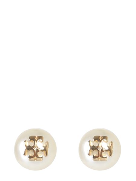 Tory Burch - Pearl Stud Crystal And Brass Earrings